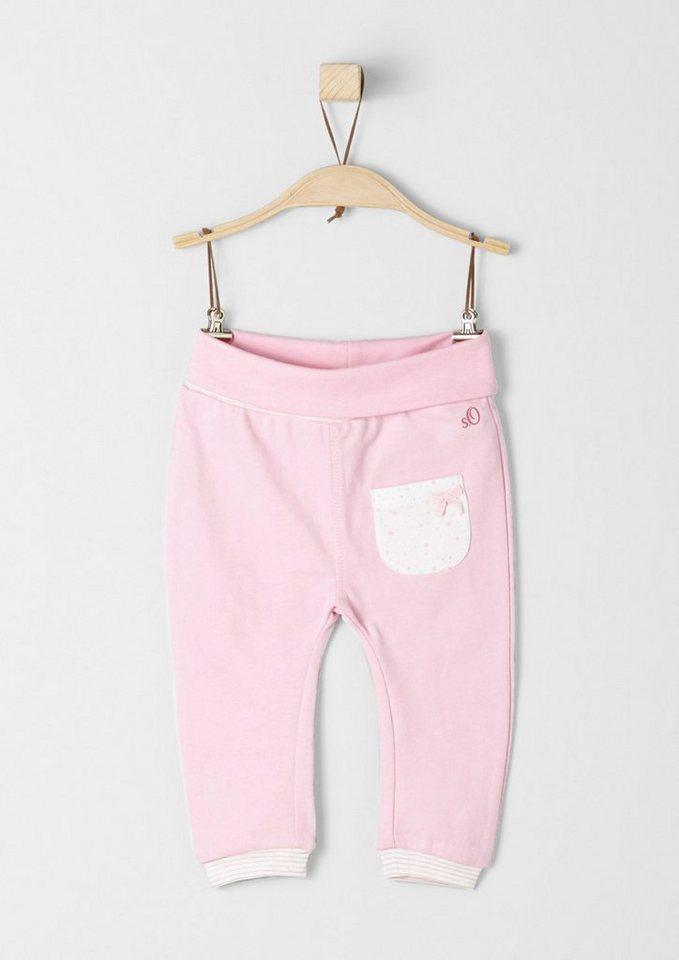 s.Oliver RED LABEL Junior Sweathose mit Umschlagbund für Babys in light pink