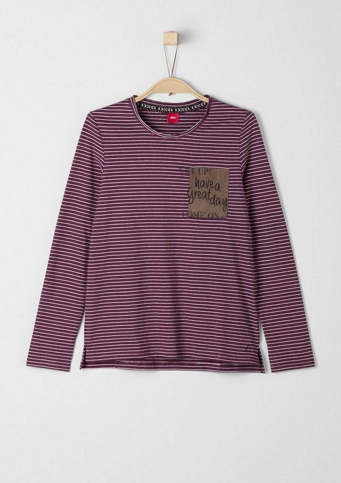 s.Oliver RED LABEL Junior Ringelshirt mit Patch für Mädchen in berry stripes