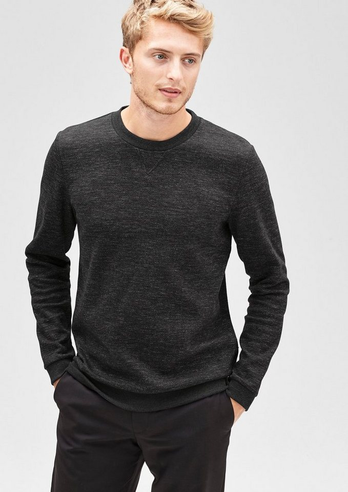 s.Oliver BLACK LABEL Sweatshirt im Herringbone-Look in graphit herringbone