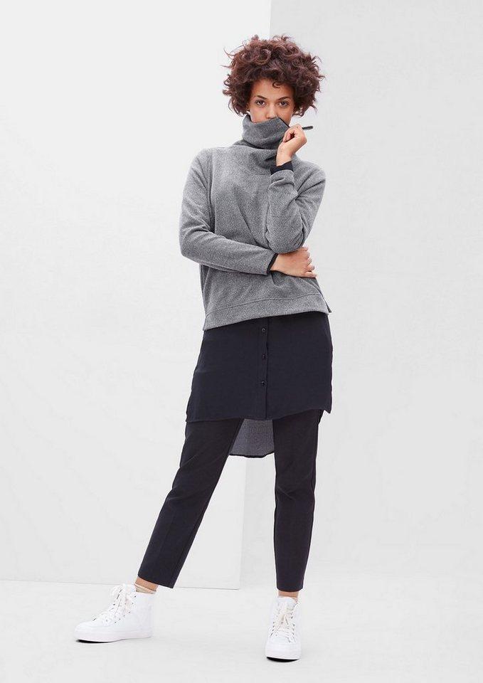 s.Oliver RED LABEL Sweatshirt mit Zipp-Rollkragen in pewter grey melange