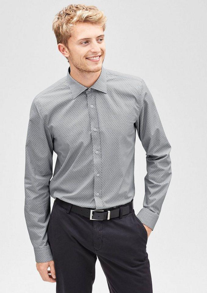 s.Oliver BLACK LABEL Slim: Gemustertes Stretch-Hemd in black check