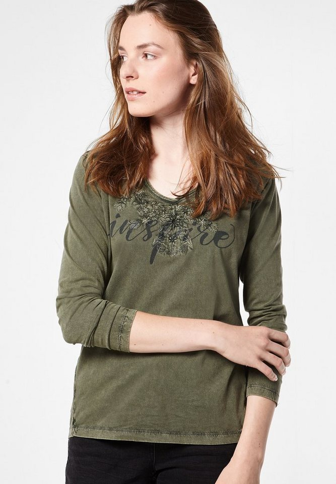 CECIL Langarmshirt mit Stitchings in deep olive