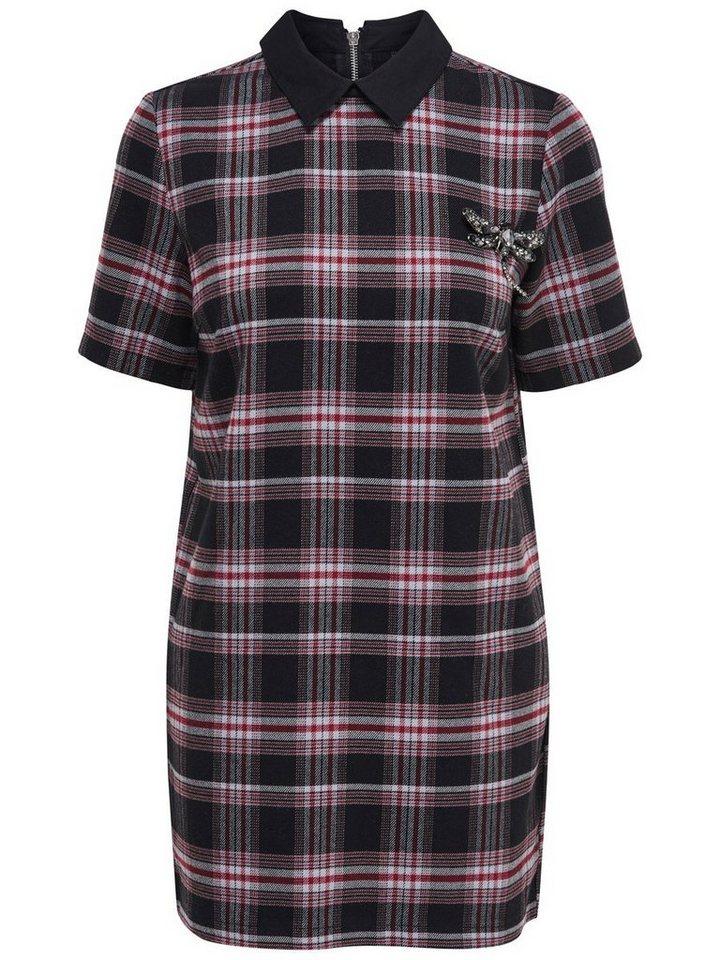 Only Kragen- Kleid mit kurzen Ärmeln in Syrah