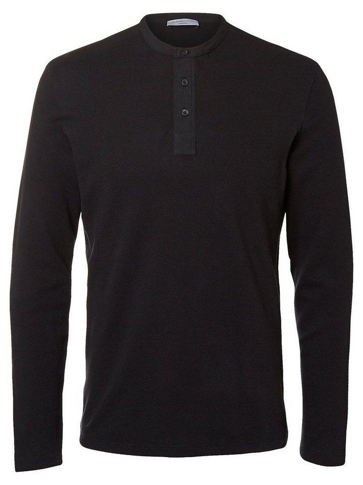 Selected Split Neck- T-Shirt mit langen Ärmeln in Jet Black