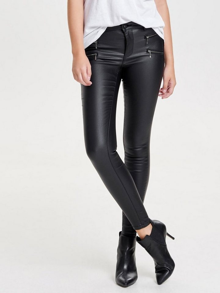 Only Royal Reg Zip Rock Coated Skinny Fit Jeans in Black