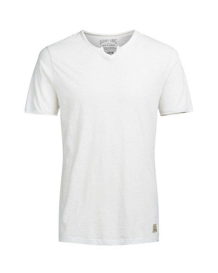 Jack & Jones Split-Neck- T-Shirt in Cloud Dancer