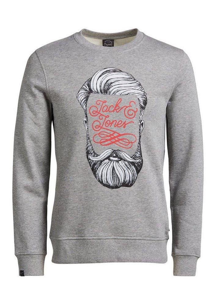 Jack & Jones Bedrucktes Sweatshirt in Light Grey Melange
