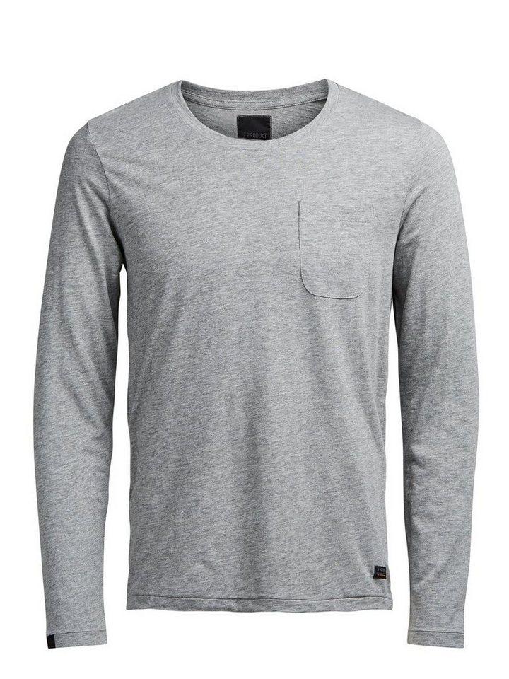 PRODUKT Lässiges T-Shirt mit langen Ärmeln in Light Grey Melange
