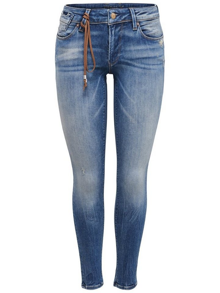 Only Carrie Low Skinny Fit Jeans in Light Blue Denim