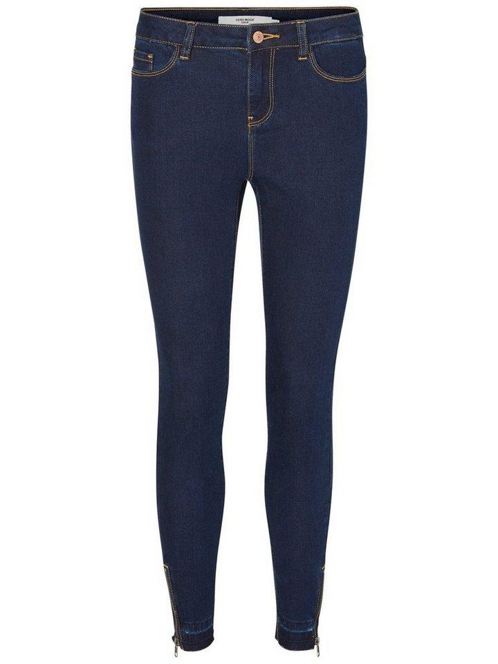 Vero Moda Seven NW Ankle Skinny Fit Jeans in Dark Blue Denim