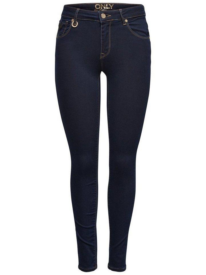 Only Freya reg push in Skinny Fit Jeans in Dark Blue Denim