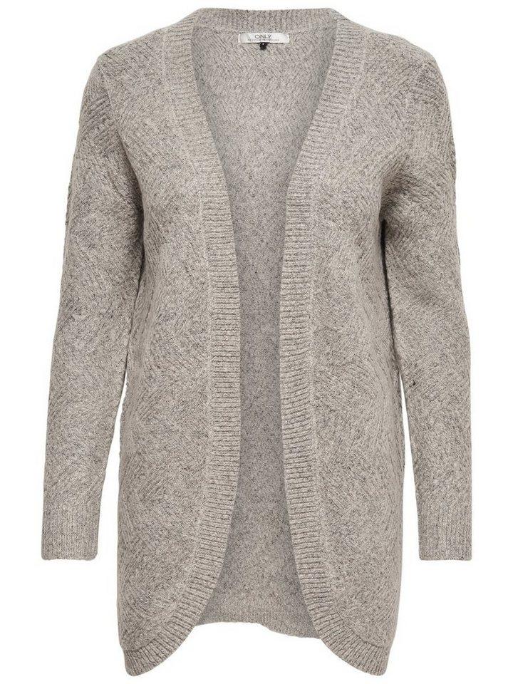 Only Offener Strick-Cardigan in Light Grey Melange