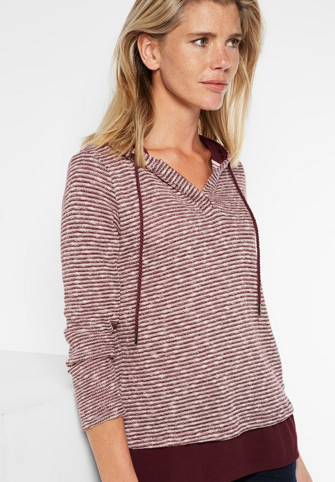 CECIL Shirt im Lagenlook mit Hoody in maroon red