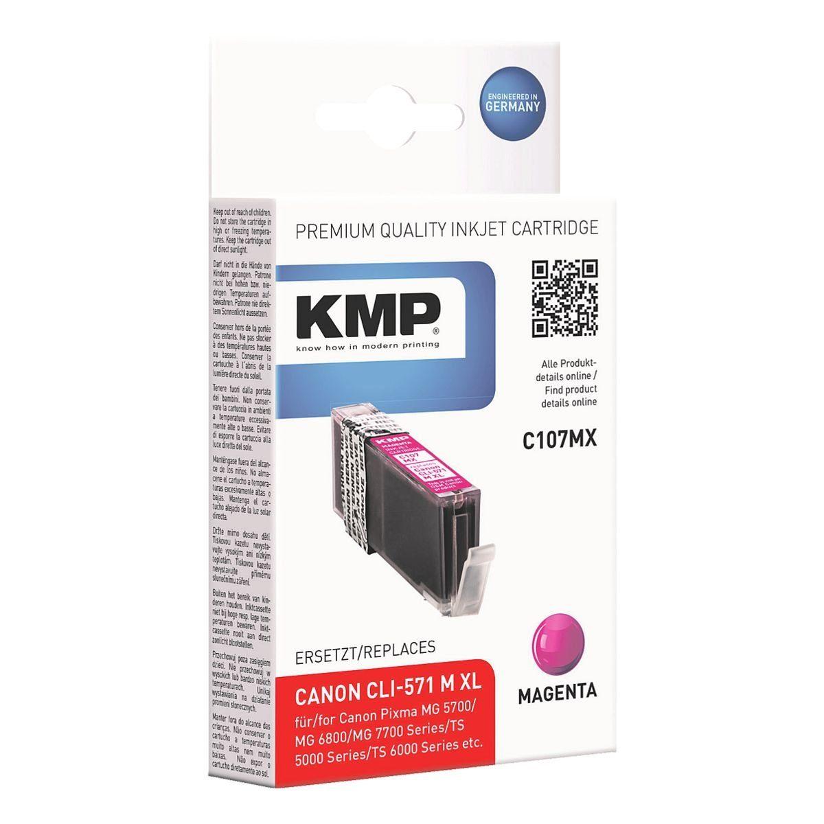 KMP Tintenpatrone ersetzt »CLI-571M XL«