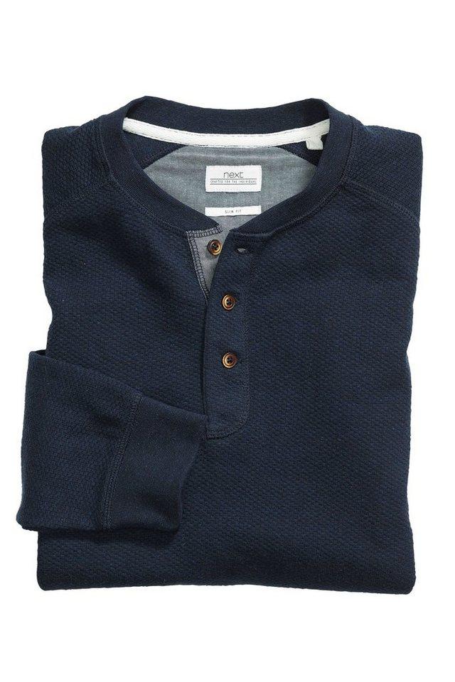 Next Premium-Shirt mit Knopfleiste und Waffelmuster in Navy