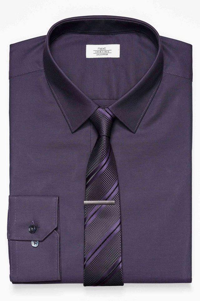 Next Strukturiertes Hemd und Krawatte im Set 3 teilig in Purple Slim Fit