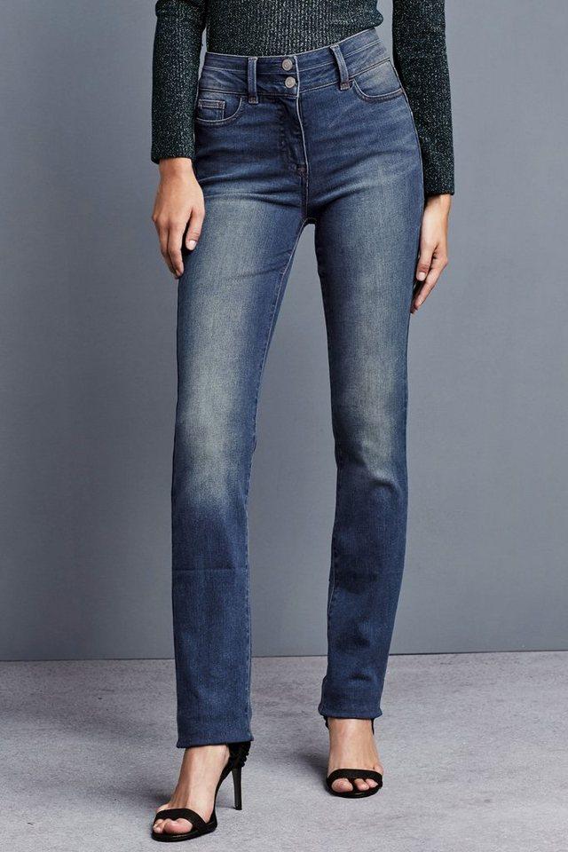 Next Hoch geschnittene Jeans mit Figurformung und schmalem Schnitt in Denim Mid Blue