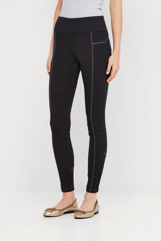 Next Sportliche Denim-Leggings mit Ziernaht in Black