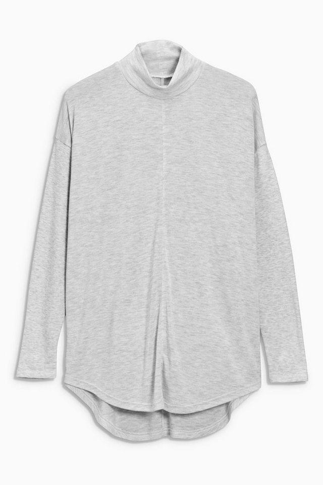 Next Jersey-Shirt mit Stehkragen in Grey