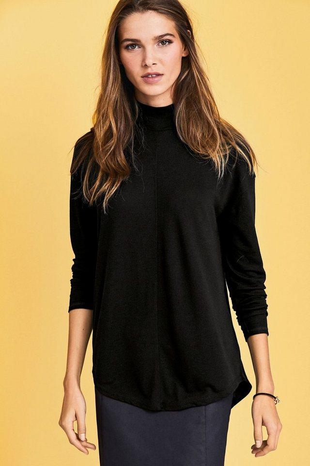 Next Jersey-Shirt mit Stehkragen in Black