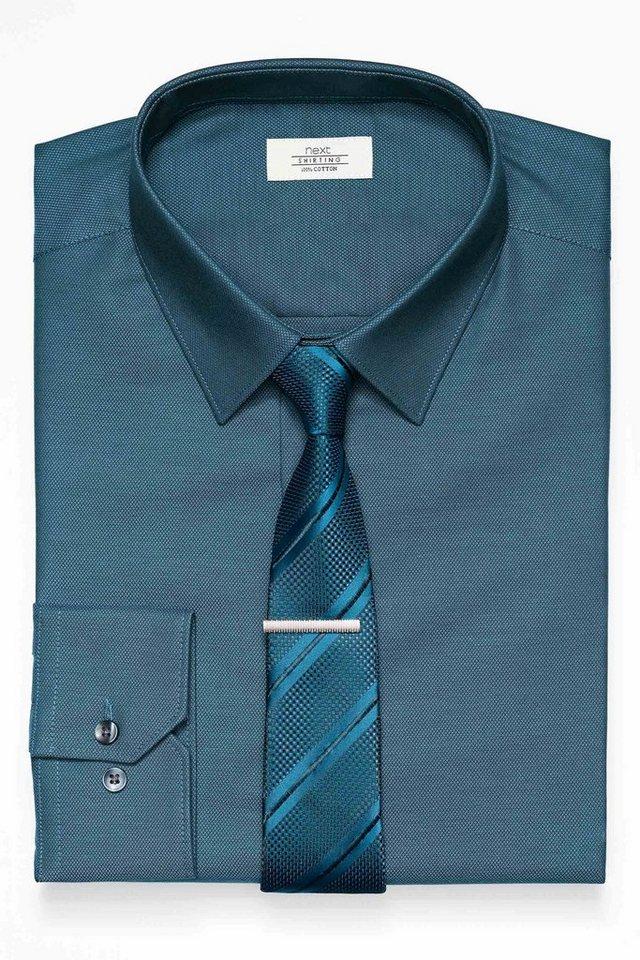Next Strukturiertes Hemd und Krawatte im Set 3 teilig in Teal Slim Fit Single Cuff