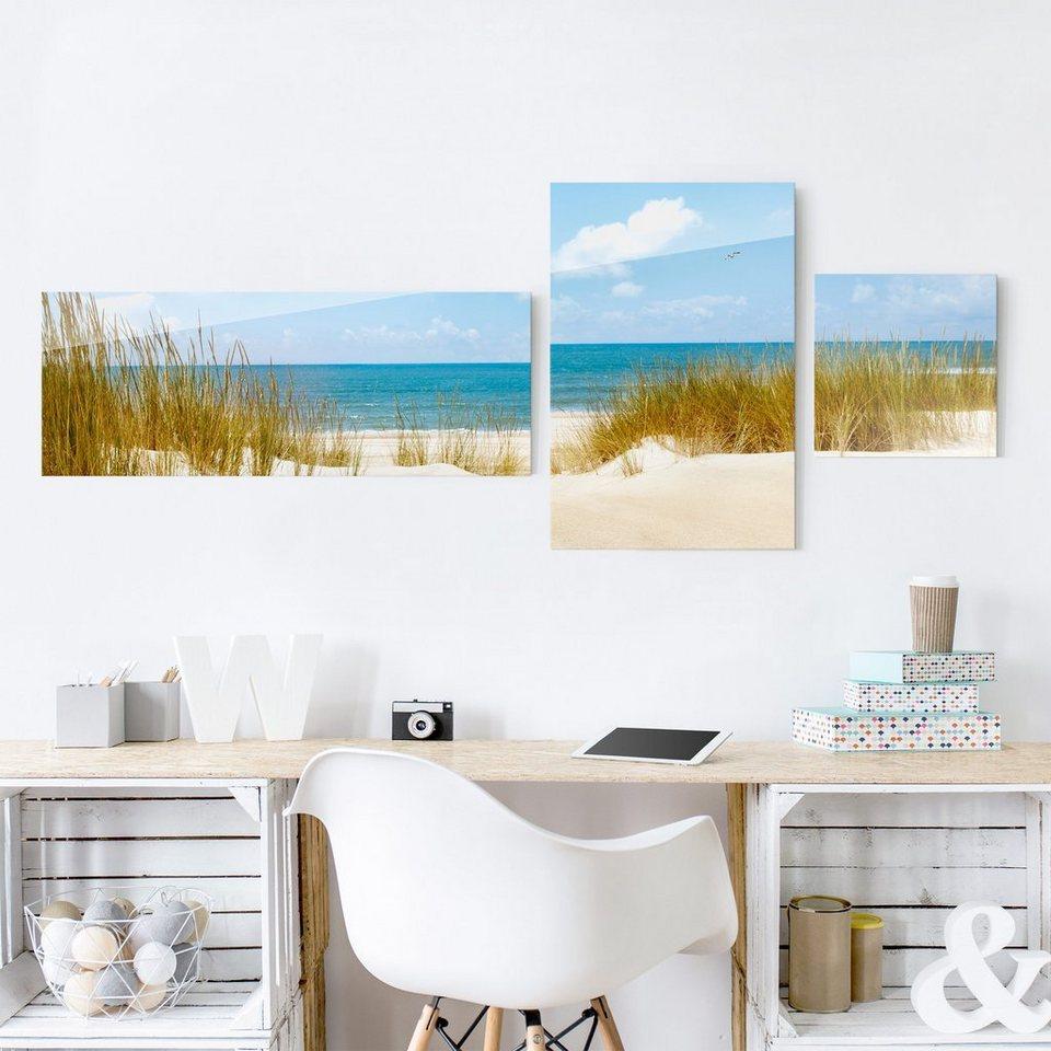 Bilderwelten Glasbild 3-teilig »Strand an der Nordsee Collage« in Blau