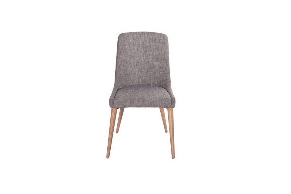 Kasper-Wohndesign Stuhl mit Stoffbezug und Füßen aus Holz versch. Farben »KY« in dunkelgrau