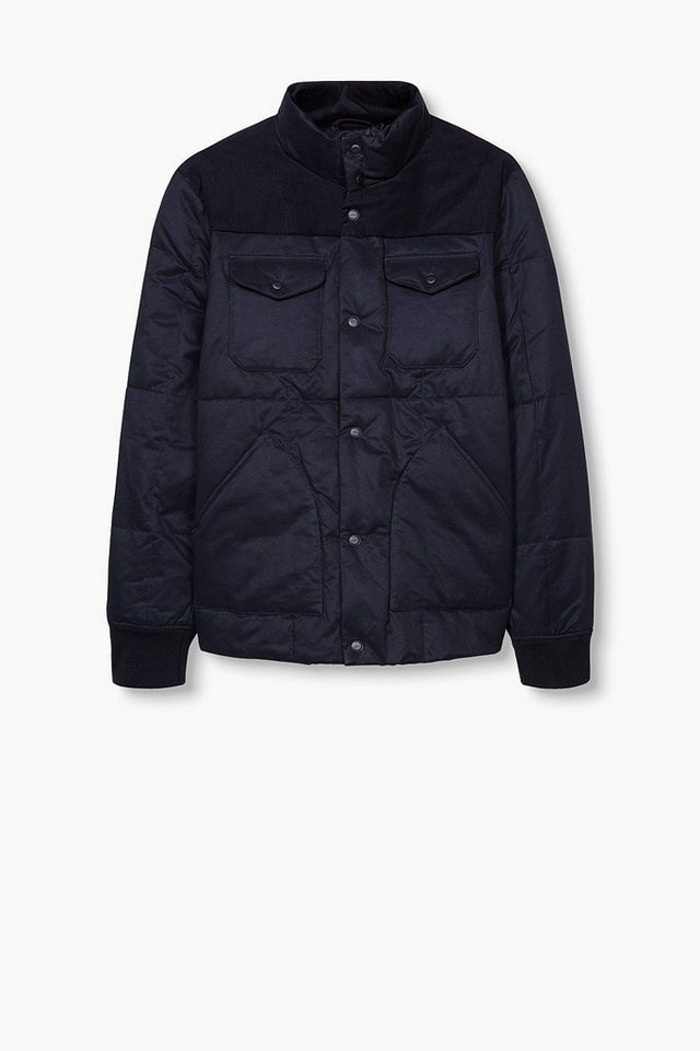 ESPRIT CASUAL Baumwoll-Mix Steppjacke mit Cordbesatz in NAVY