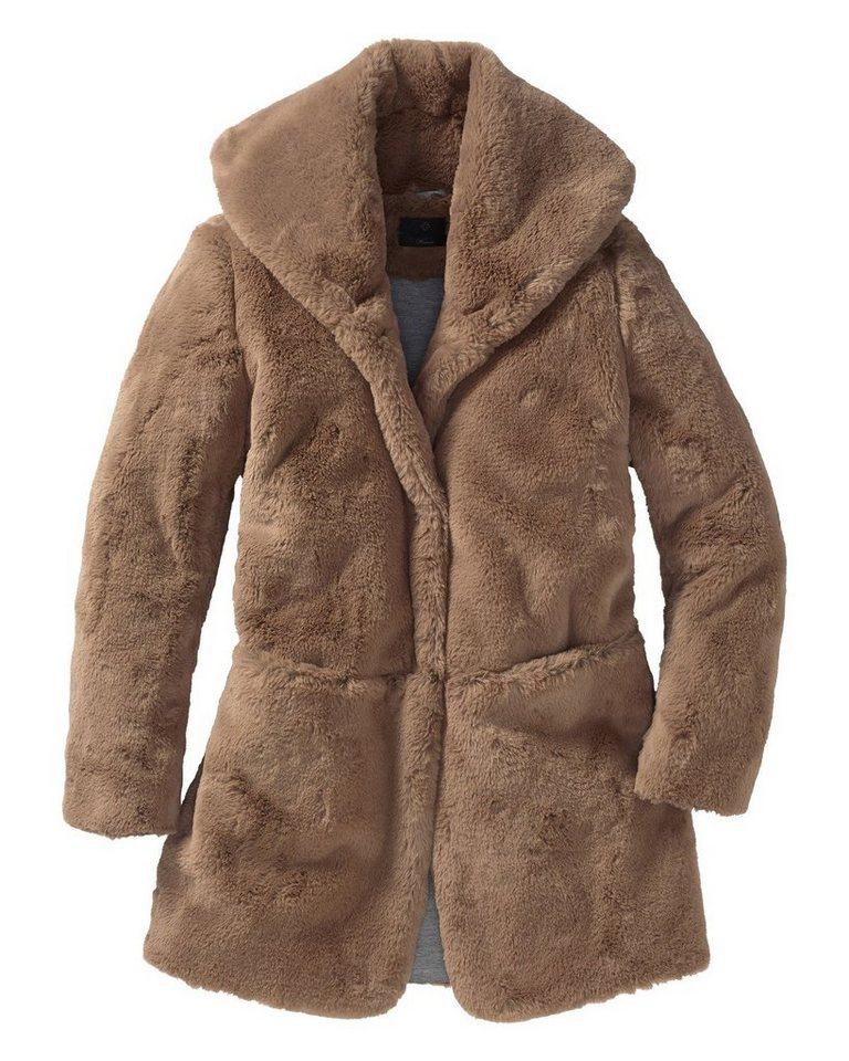 Milestone Fake-Fur Mantel in Hellbraun