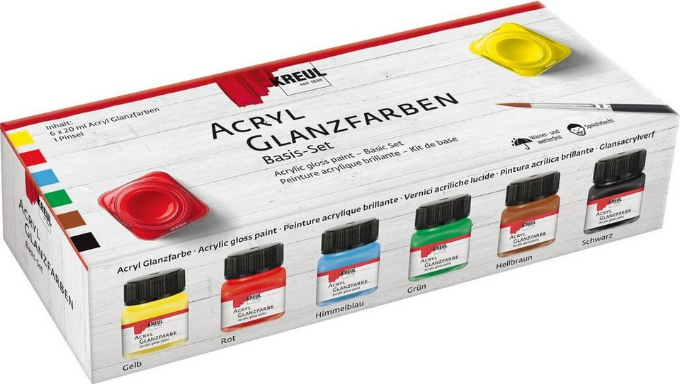 KREUL Acryl Glanzfarben Basis-Set, 6 x 20 ml