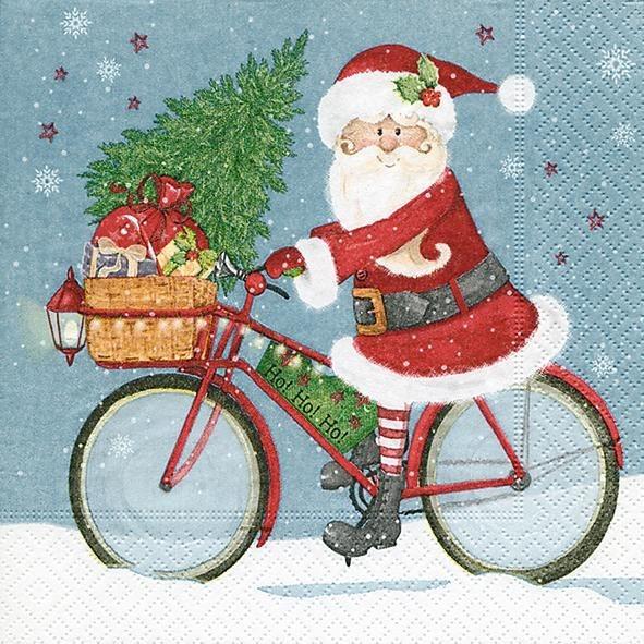 """Serviette """"Santa mit Rad"""""""