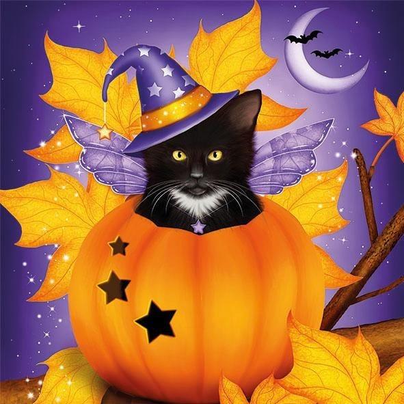 """Serviette """"Halloween Katze"""""""