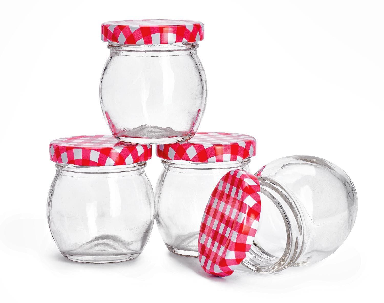 """VBS Marmeladenglas mit Schraubdeckel """"Einmachglas bauchig"""" 4 Stück"""
