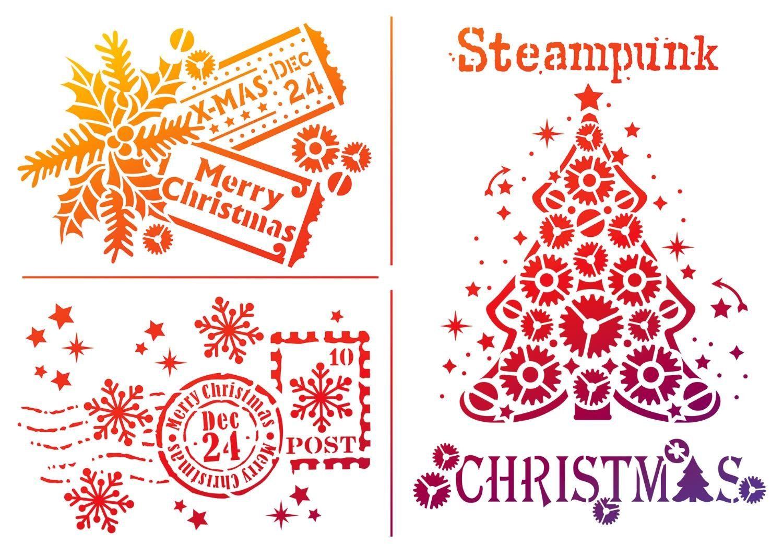 "Viva Decor Schablone ""Steampunk Christmas"", DIN A4 Malschablone"