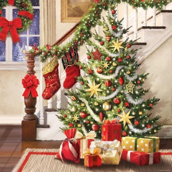 """Serviette """"Weihnachtsbescherung"""""""