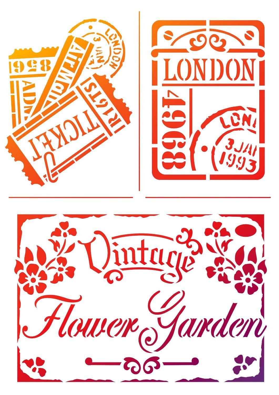 """Viva Decor Schablone """"Vintage Flower Garden"""", DIN A4 Malschablone"""