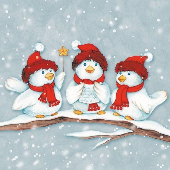 """Serviette """"Drei Weihnachtsvögel"""""""