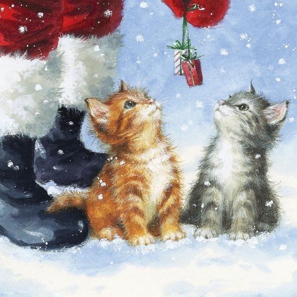 """Serviette """"Katzen im Schnee"""""""