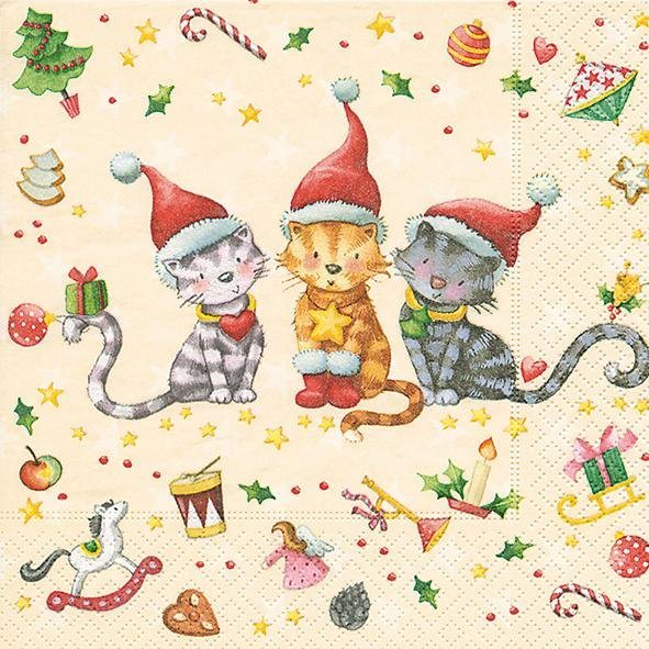 """Serviette """"Weihnachtskatzen"""""""
