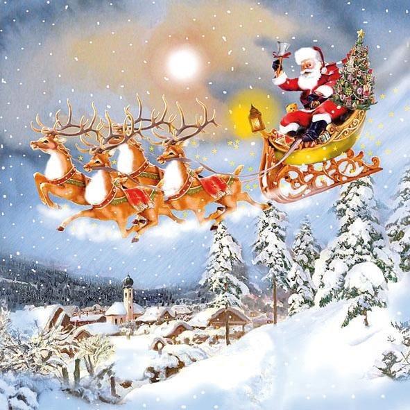 """Serviette """"Santas Schlittenfahrt"""""""