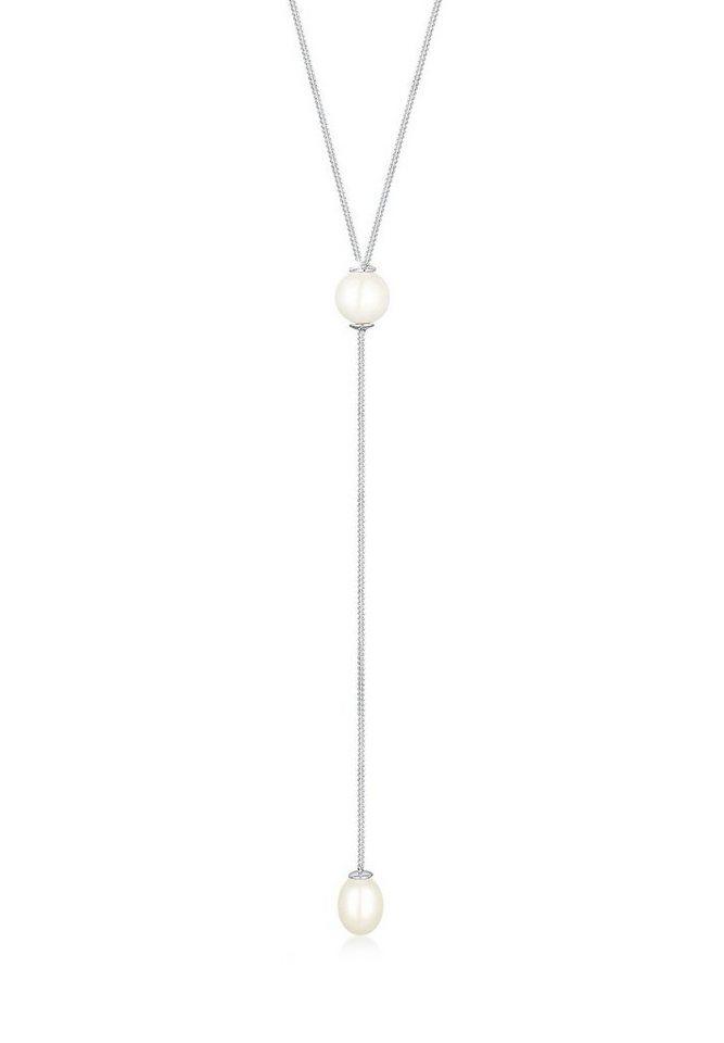 Elli Halskette »Y-Kette Süßwasserzuchtperle 925 Sterling Silber« in Silber