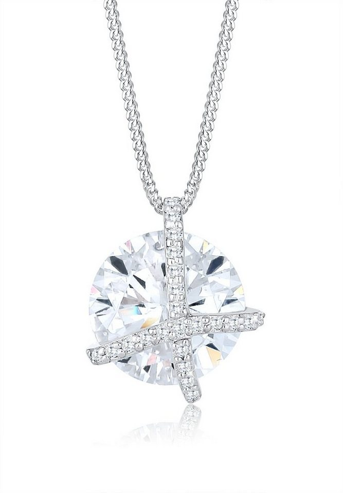 Elli Halskette »Kreuz Kreis Zirkonia 925 Sterling Silber« in Weiß