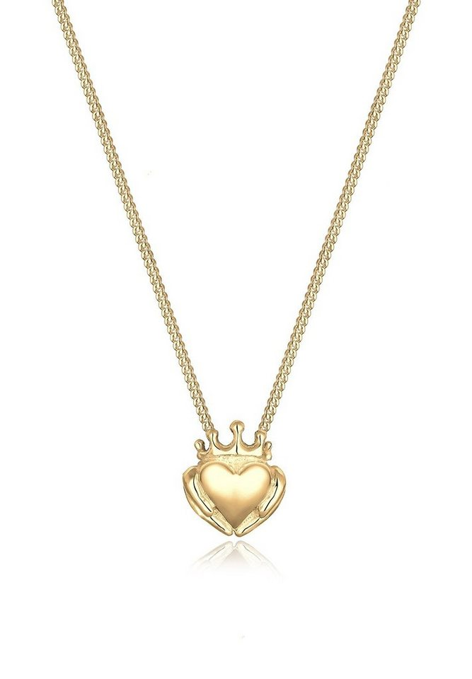 Elli Halskette »Claddagh-Herz 925 Sterling Silber vergoldet« in Gold