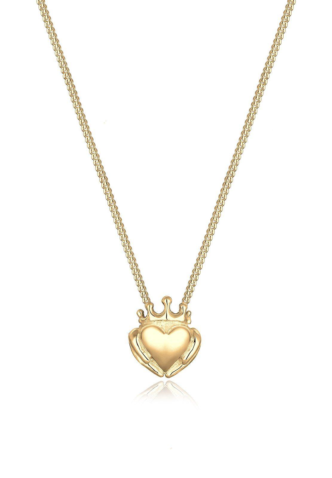 Elli Halskette »Claddagh-Herz 925 Sterling Silber vergoldet«