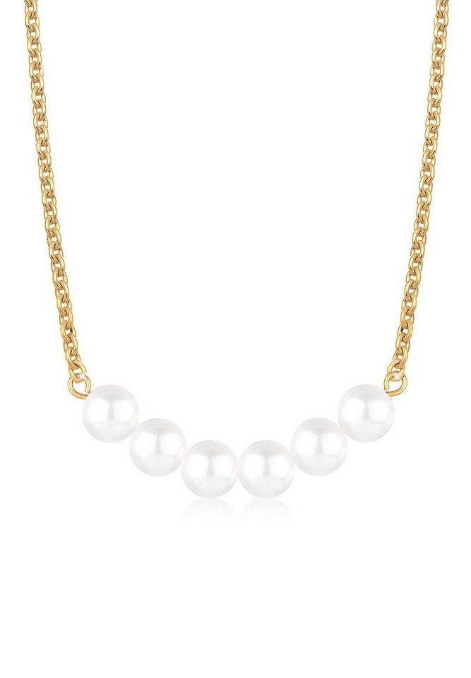 Elli Halskette »Perlenkette 925 Sterling Silber vergoldet« in Weiß