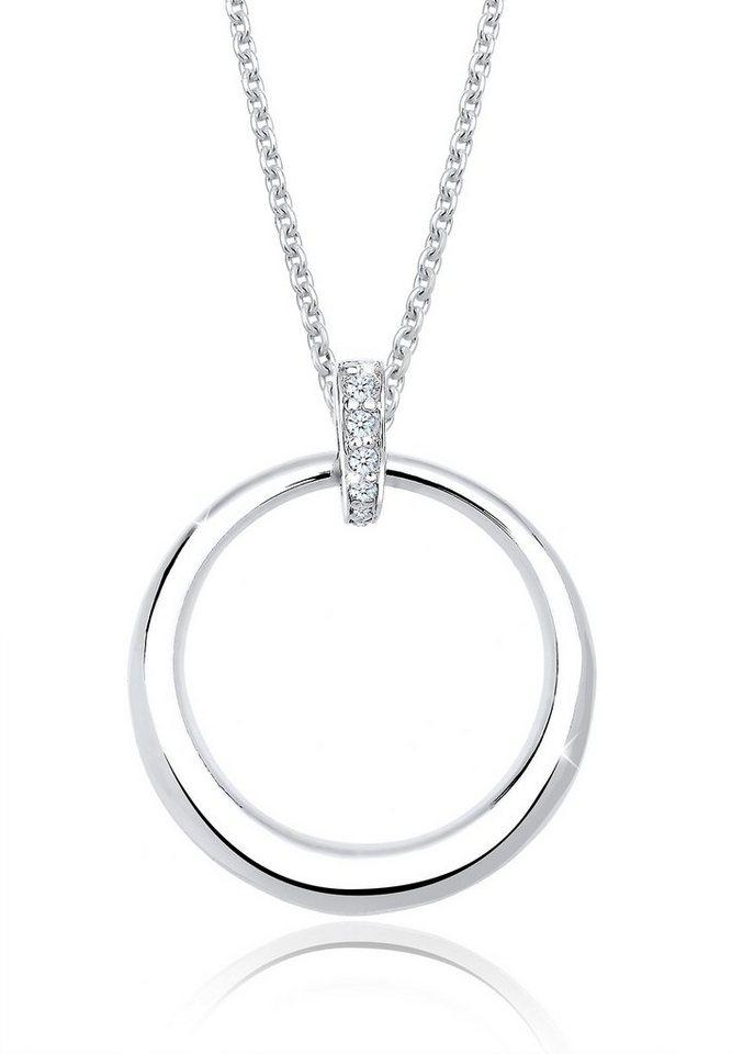 Diamore Halskette »925 Sterling Silber Diamant Kreis« in Weiß