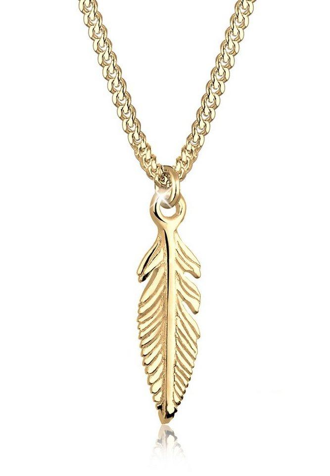 Elli Halskette »Feder 585 Gelbgold« in Gold