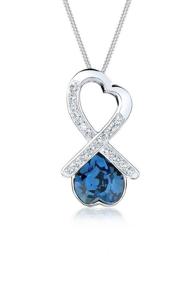 Elli Halskette »Schleife Herz Swarovski Kristall 925 Silber« in Blau
