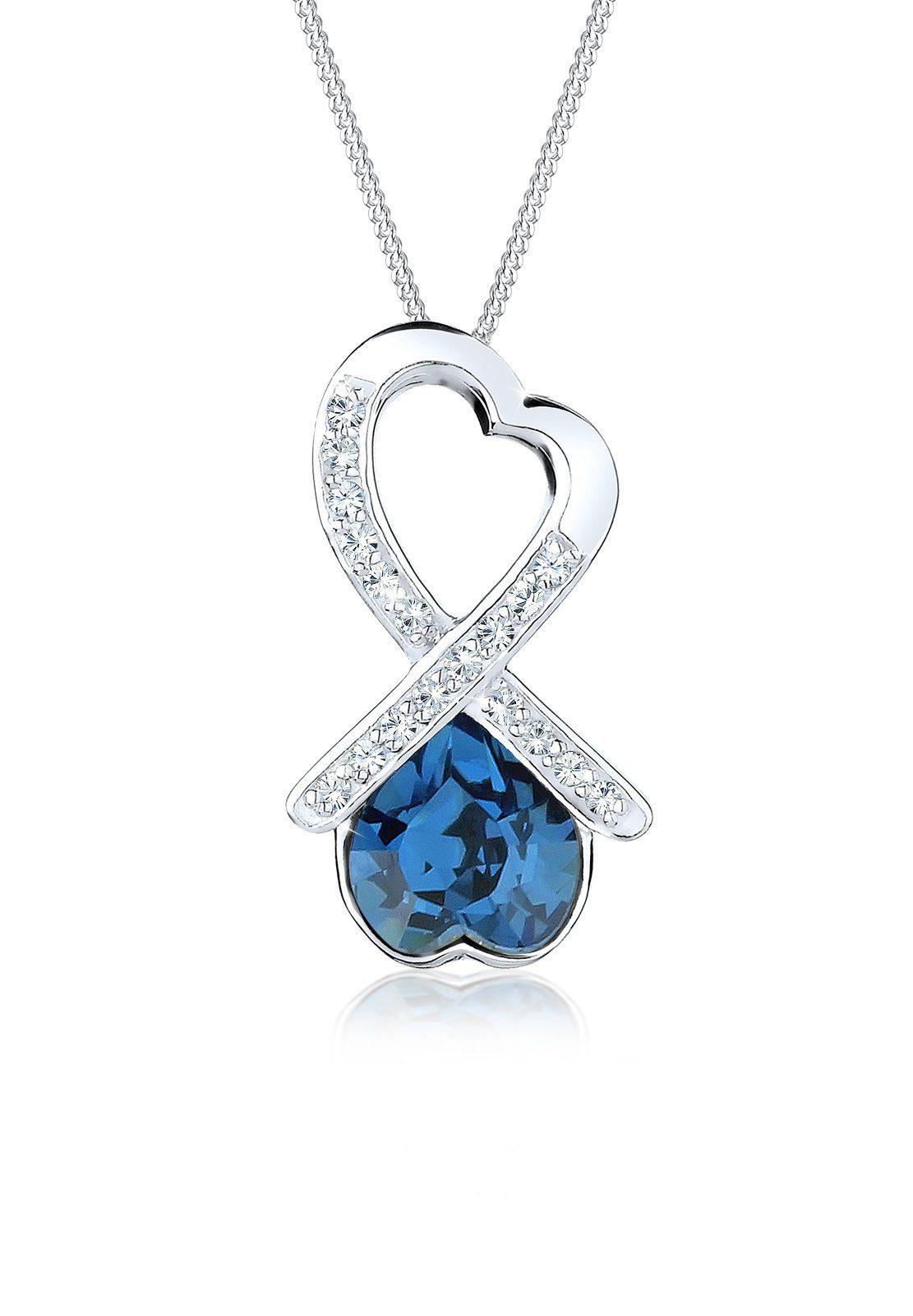 Elli Halskette »Schleife Herz Swarovski Kristall 925 Silber«