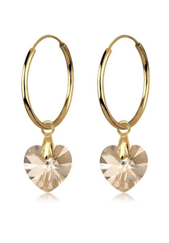 Goldhimmel Ohrringe »Herz Creolen Swarovski® Kristalle Liebe vergoldet« in Gold